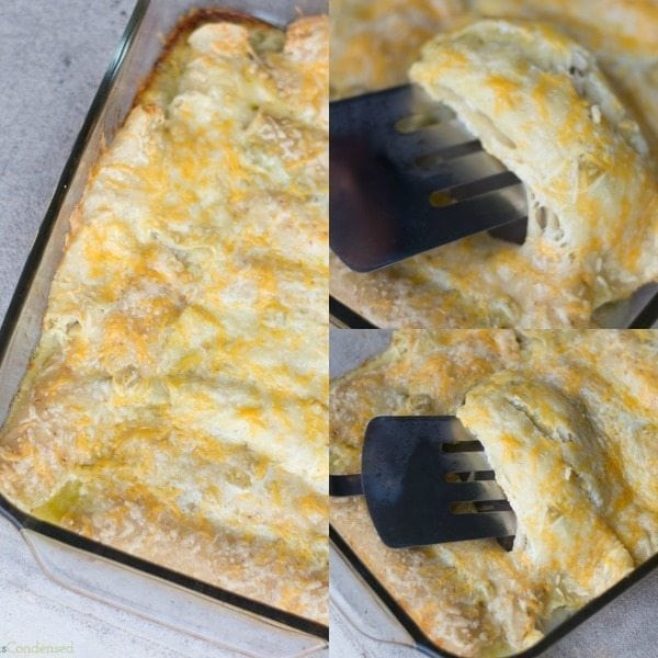 Easy and cheesy green chile chicken enchiladas. Easy to freeze, and ...