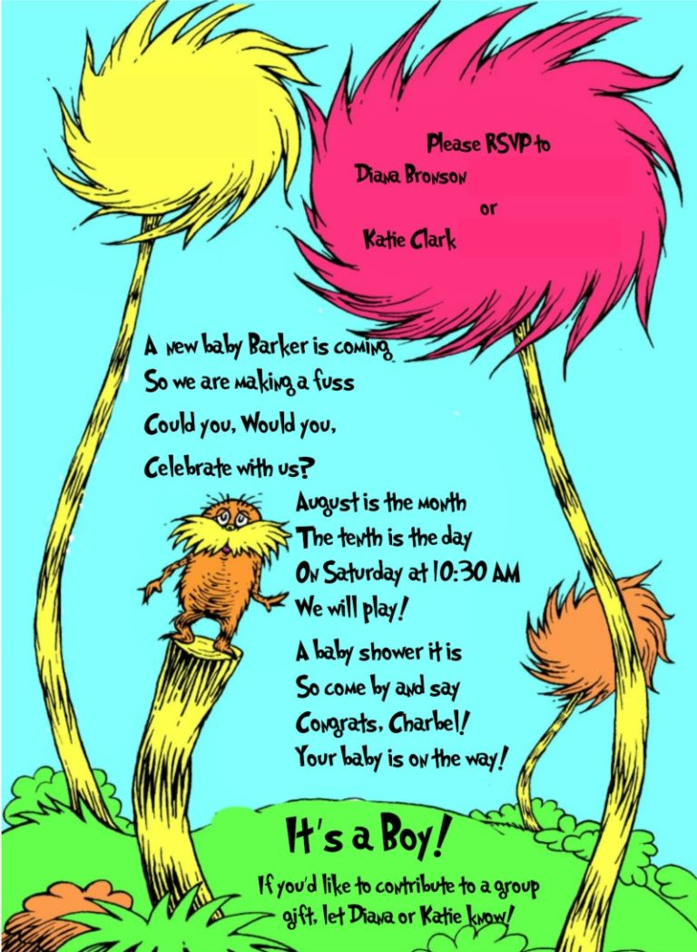 Invitation and Decoration Ideas for Dr Seuss Party