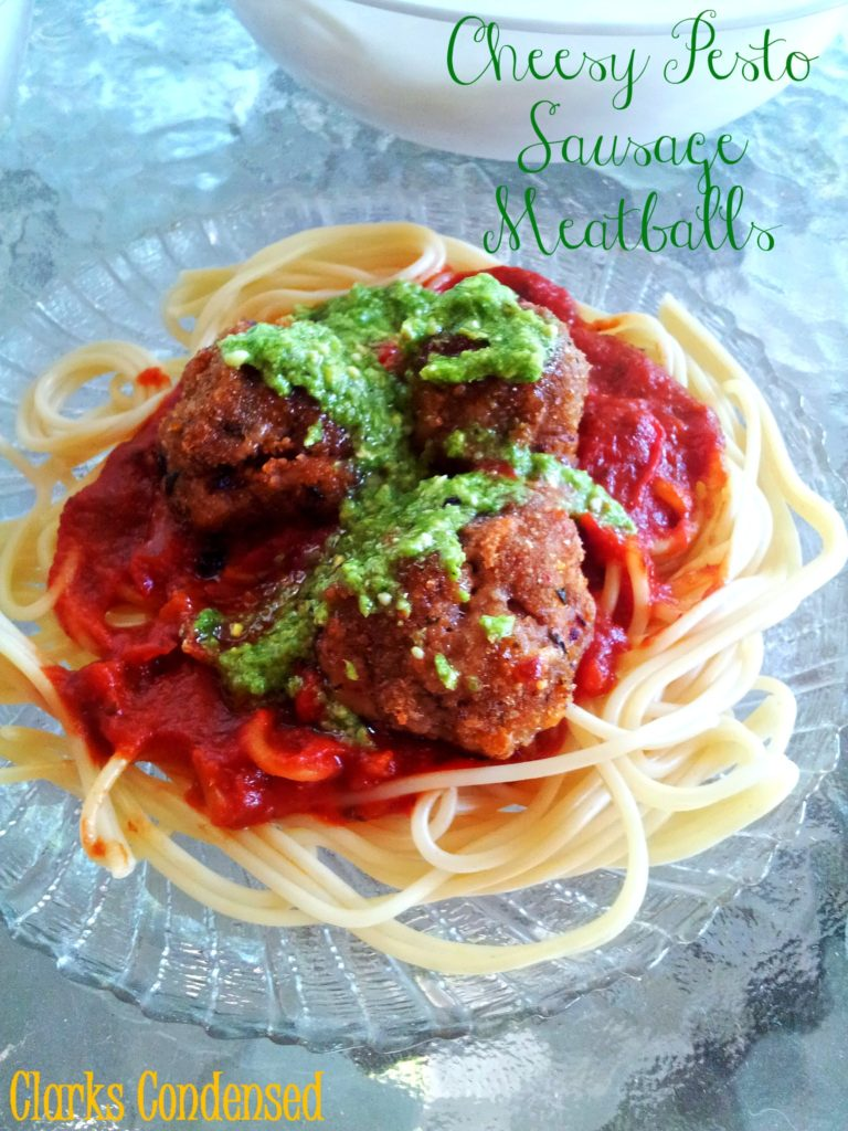 Cheesy Pesto Sausage Meatballs
