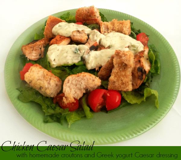Easy Chicken Caesar Salad with Greek Yogurt Caesar Dressing by Clarks Condensed