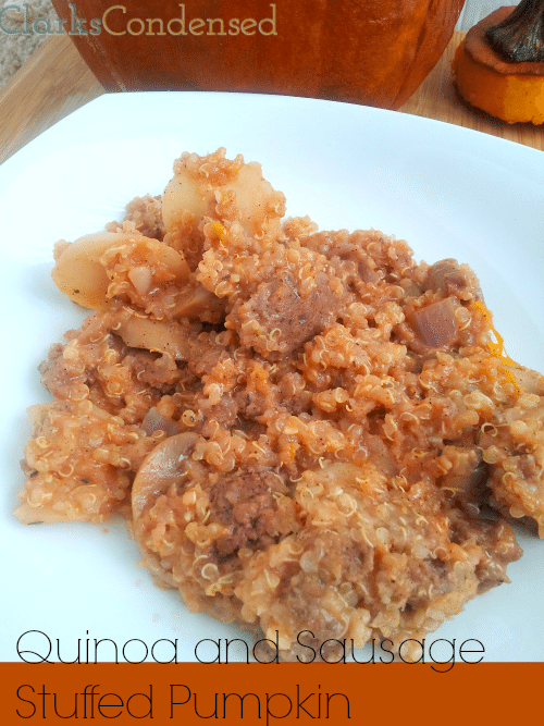 Quinoa and Sausage Stuffed Pumpkin (perfect fall meal!) -- dinner in a pumpkin