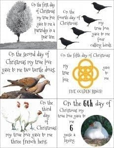 12 days of Christmas Printable