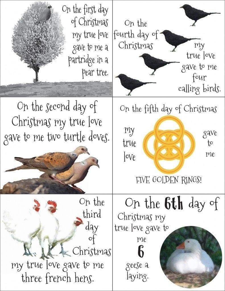 12 days of Christmas Printable
