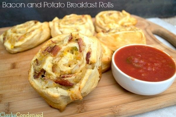 Bacon and Potato Breakfast Rolls -- filled with potatoes, bacon, peppers, onions, and cheese