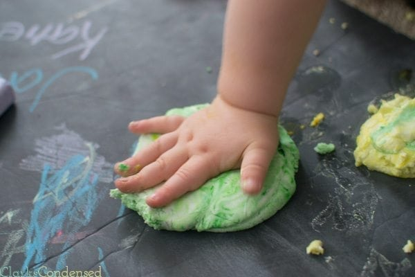 Homemade Play Dough: This homemade play dough is made with two ingredients (body lotion and corn starch) and is fun for any age (plus it leaves your hands nice and soft!)