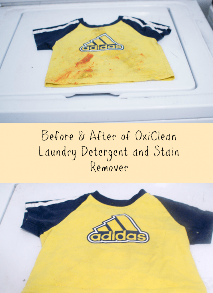 Before and After Oxi Clean Stain Remover and Laundry Detergent