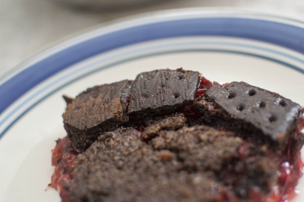 Cherry Chocolate Pie: A decadent cherry pie, made with a chocolate based crust and topped off with a chocolate graham cracker topping. This is definitely not your Grandma's cherry pie recipe (though that's probably delicious too!)
