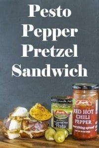 Pesto Pepper Pretzel Sandwich