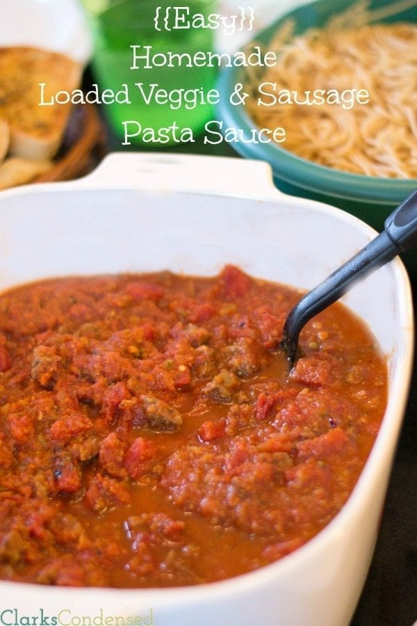 Easy Homemade Spaghetti Sauce loaded with veggies and sausage. Your pickiest eater won't even know there are extra veggies in this!