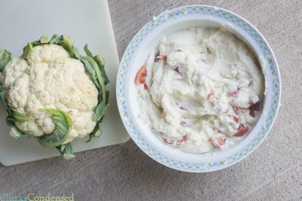 A low carb alternative to mashed potatoes -- garlic & bacon mashed cauliflower!