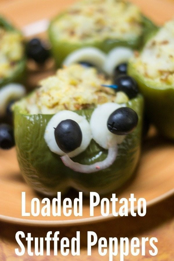 Loaded potato stuffed peppers, made to look like monsters for Halloween!