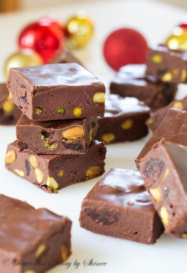 This rich chocolate fudge with salty pistachios and tart cherries is perfect for your holiday dessert table. One word: decadent!