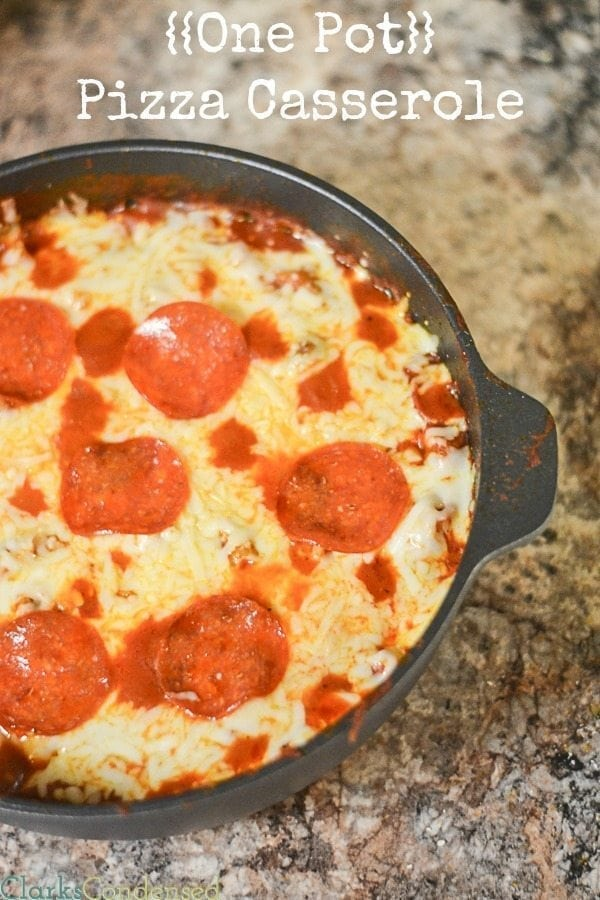 Dinner doesn't get easier than this one pot pizza pasta casserole. It's full of sausage, pepperoni, and gooey mozzarella cheese. It's one of our new family favorites.