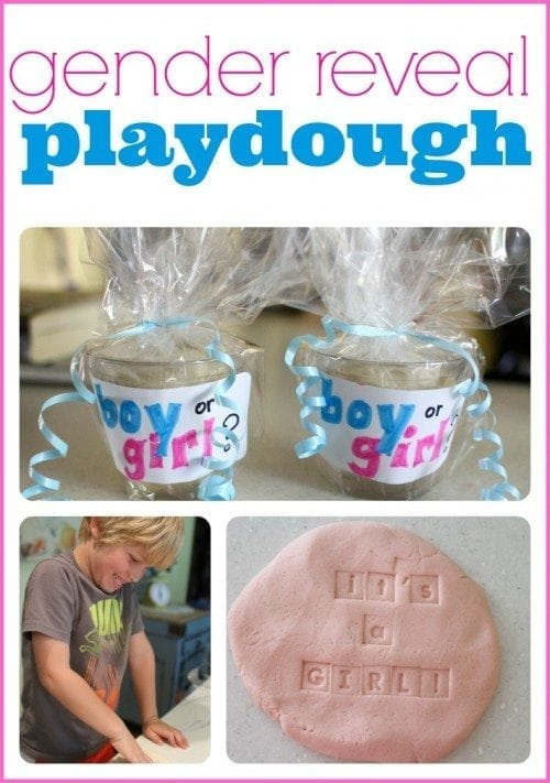 playdough gender reveal idea with kids