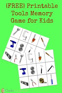 Printable Tools Memory Game for Kids