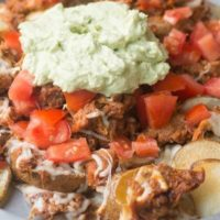 Loaded Pulled Pork Potato Nachos