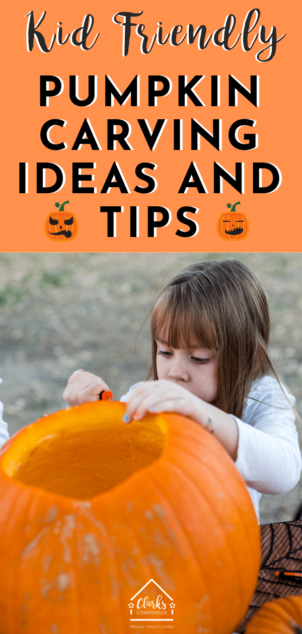 Pumpkin carving ideas / Pumpkin carving ideas for kids / Kid Friendly Pumpkin Ideas / Halloween / Halloween Decoration / Halloween for Kids via @clarkscondensed