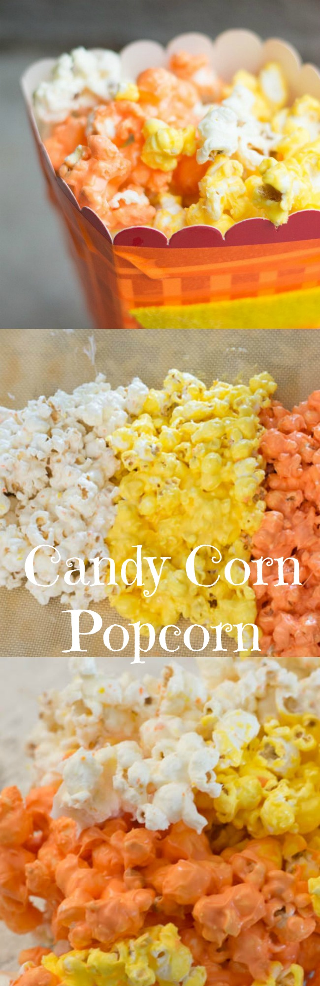 Easy Candy Corn Popcorn with Candy Melts via @clarkscondensed