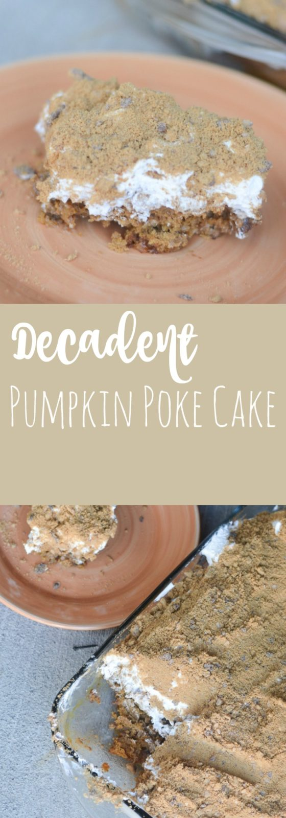 A rich, decadent butterscotch pumpkin poke cake - a delicious fall dessert that can feed a crowd!