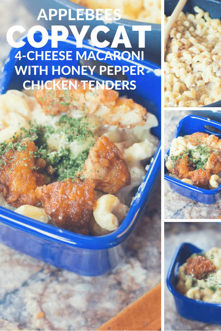 applebee's copycat / 4 cheese mac and cheese / applebee's mac and cheese / honey pepper chicken tenders / homemade chicken tenders / copycat recipe #copycat #applebees #homemade #macandcheese #pasta