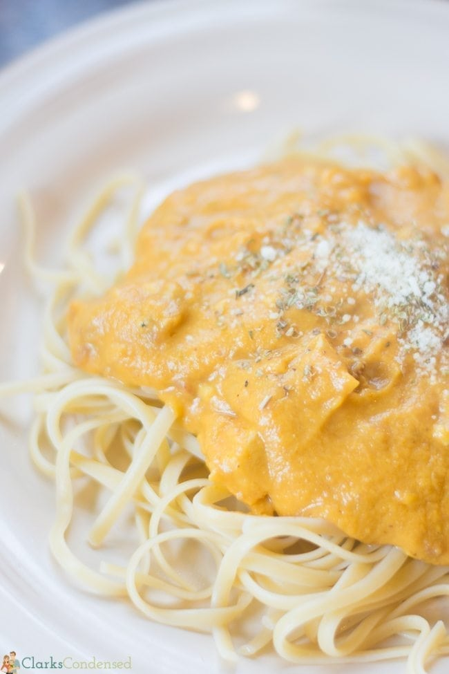 This pumpkin alfredo sauce is to DIE for. It's light and creamy, but it has all the satisfaction of regular alfredo...only better!