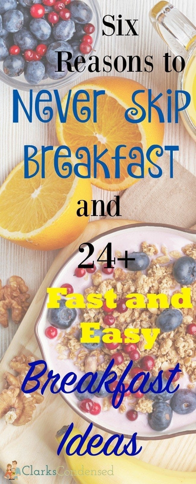 Skipping breakfast can have some serious implications! Here is why, and 24 fast and easy breakfast ideas to help inspire you!