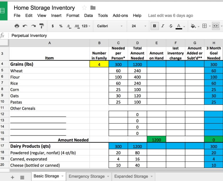 5 Ways to Build Your Food Storage Free Food Storage Inventory – Inventory Worksheet