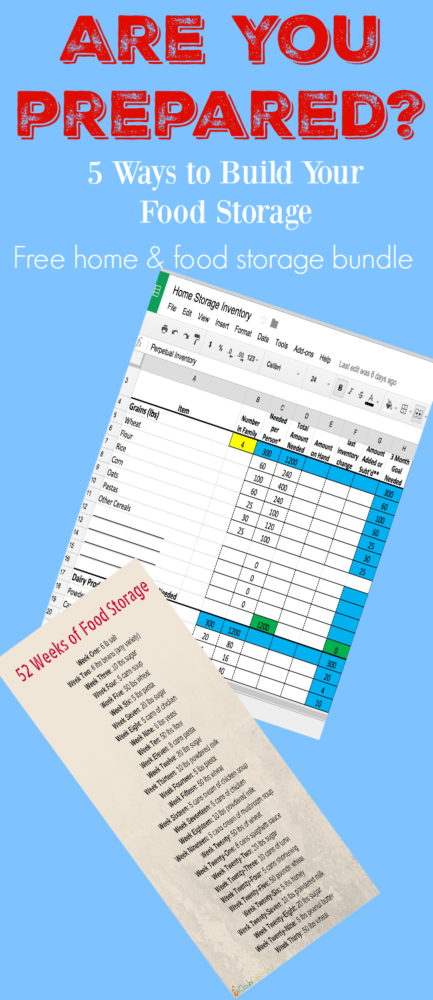 5 ways to build your food storage and free food storage inventory spreadsheet and 52 weeks of food storage printable.