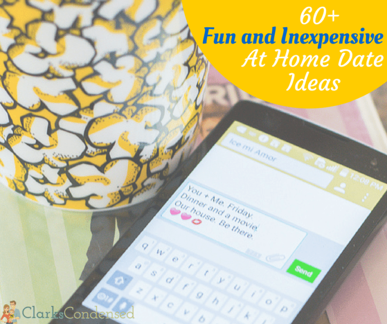 60+ Fun AND Inexpensive at home date ideas for you and your sweetie. There are a lot of fun ideas in here!