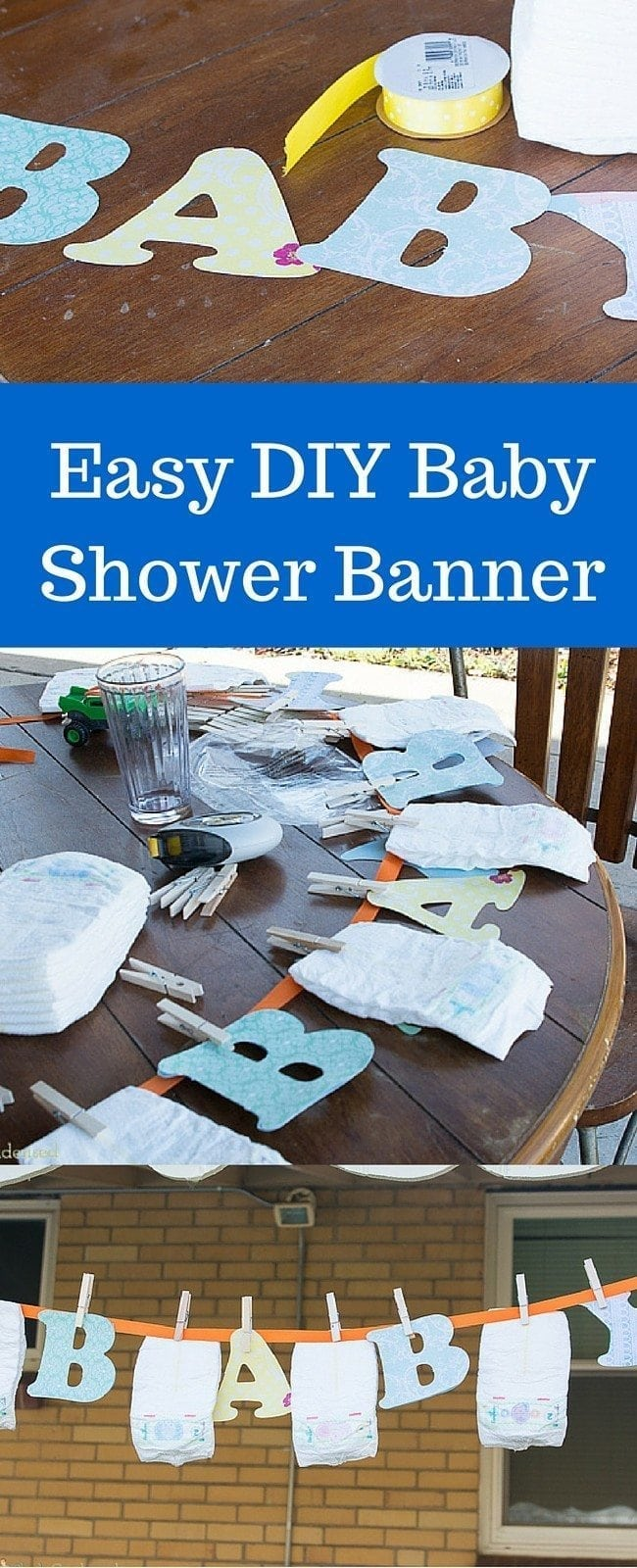 Easy DIY Baby Shower Banner - this is SO cute! Perfect for a baby shower.
