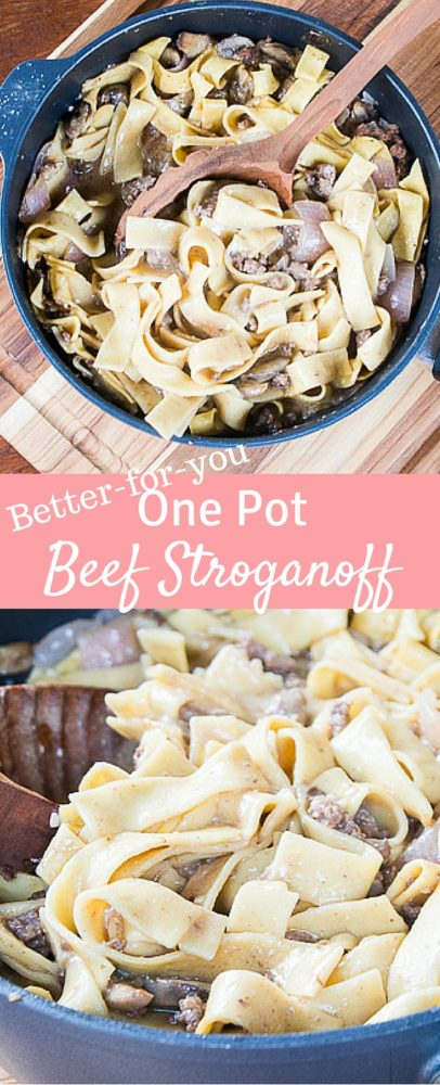 This one pot beef stroganoff is better-for-you without compromising any flavor or creaminess! It's an amazing easy dinner idea. via @clarkscondensed