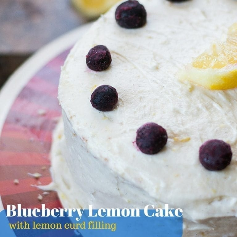 This bluberry lemon cake is filled with a creamy lemon curd and topped with lemon buttercream frosting. It's elegant and absolutely AMAZING.
