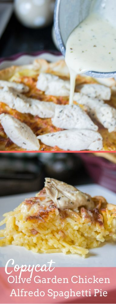 a delicious copycat olive garden spaghetti pie featuring grilled chicken and alfredo sauce - Olive Garden Alfredo Sauce Recipe