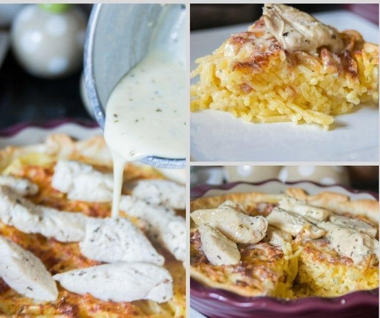 Copycat Olive Garden Chicken Alfredo Spaghetti Pie