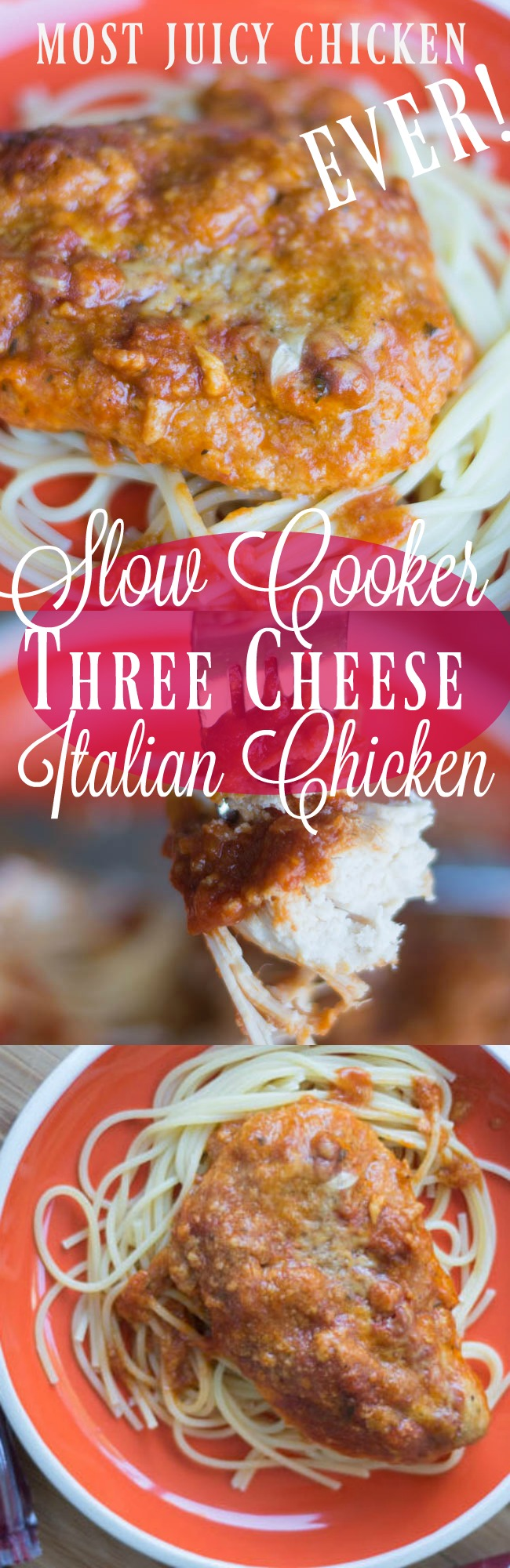 This slow cooker three cheese Italian chicken is one of the juiciest chicken recipes you will ever find. It's a huge hit! via @clarkscondensed