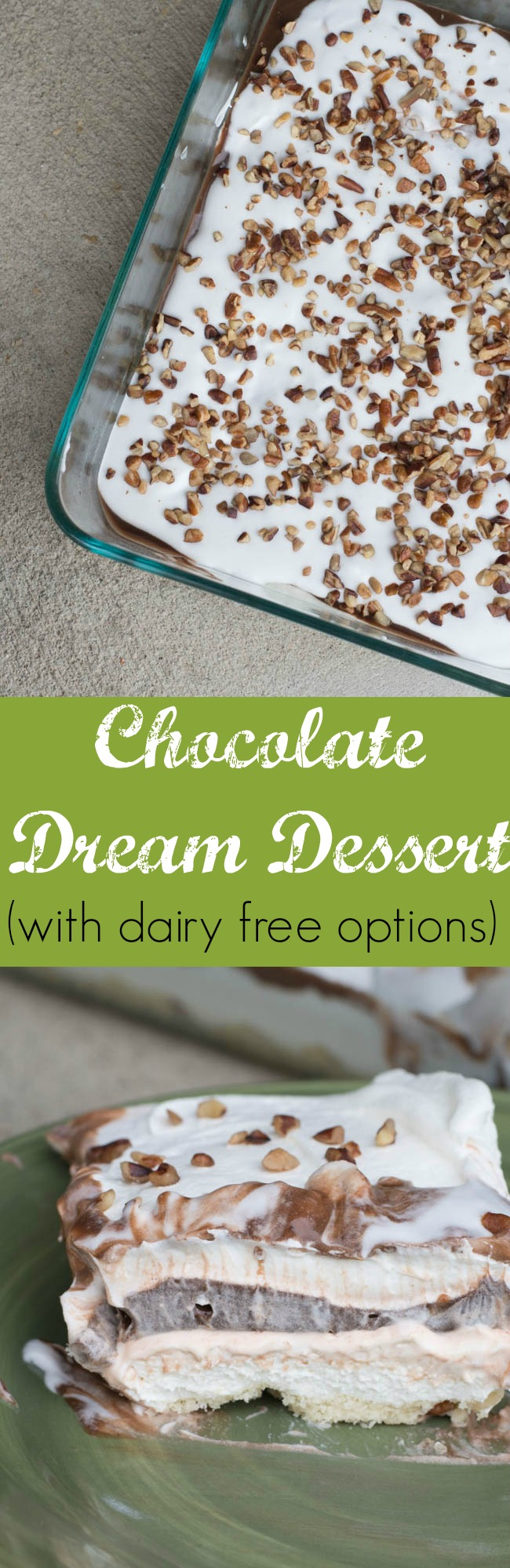 This chocolate dream dessert has dairy free options so everyone can enjoy it. It's amazing, creamy, and chocolate-y. What else could you want in a dessert?! via @clarkscondensed