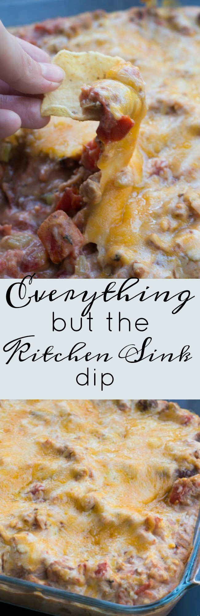 This is a cheesy bean dip recipe that is a delicious appetizer for parties and get togethers! via @clarkscondensed
