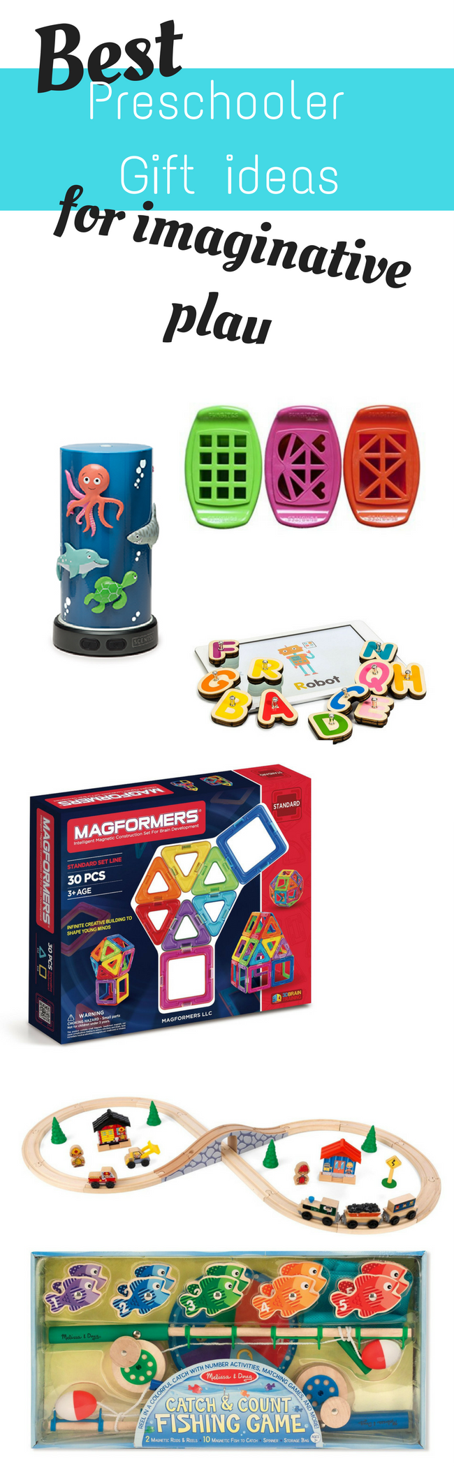 Fun gift ideas for preschoolers. These gift ideas are perfect for a preschool aged child. They encourage imagination and learning.