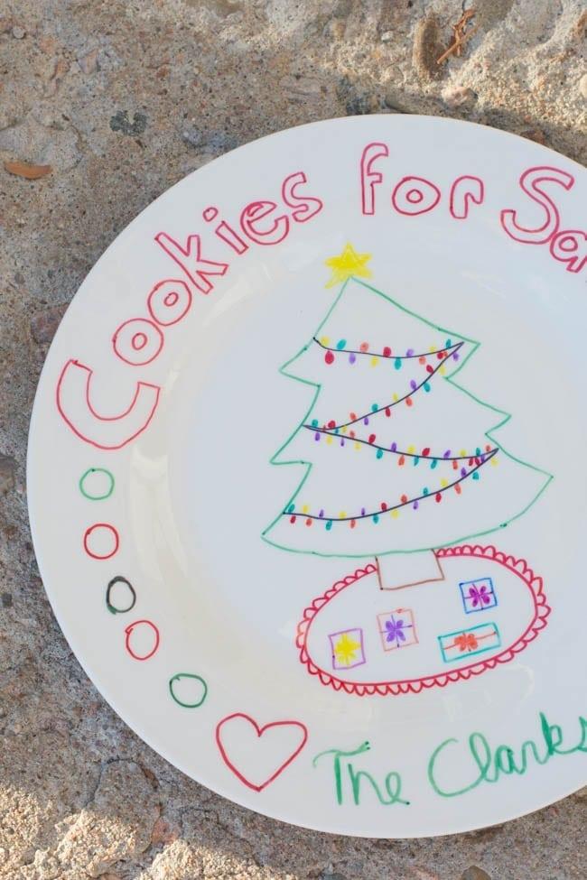 DIY Santa Cookie Plate Tutorial made with Sharpies