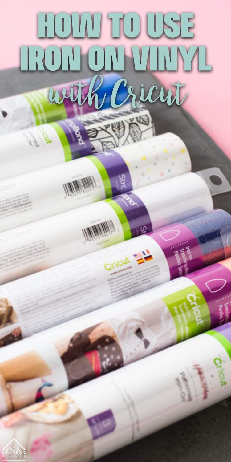 Iron on vinyl rolls for Cricut are some of my favorites to work with. You can easily learn how to make iron on projects with the Cricut Explore Air 2 by following all of the advice in this post. If you are looking for tips for iron on vinyl - this post should definitely help you - make sure you read this post about Iron on Vinyl FAQ to learn even more! via @clarkscondensed