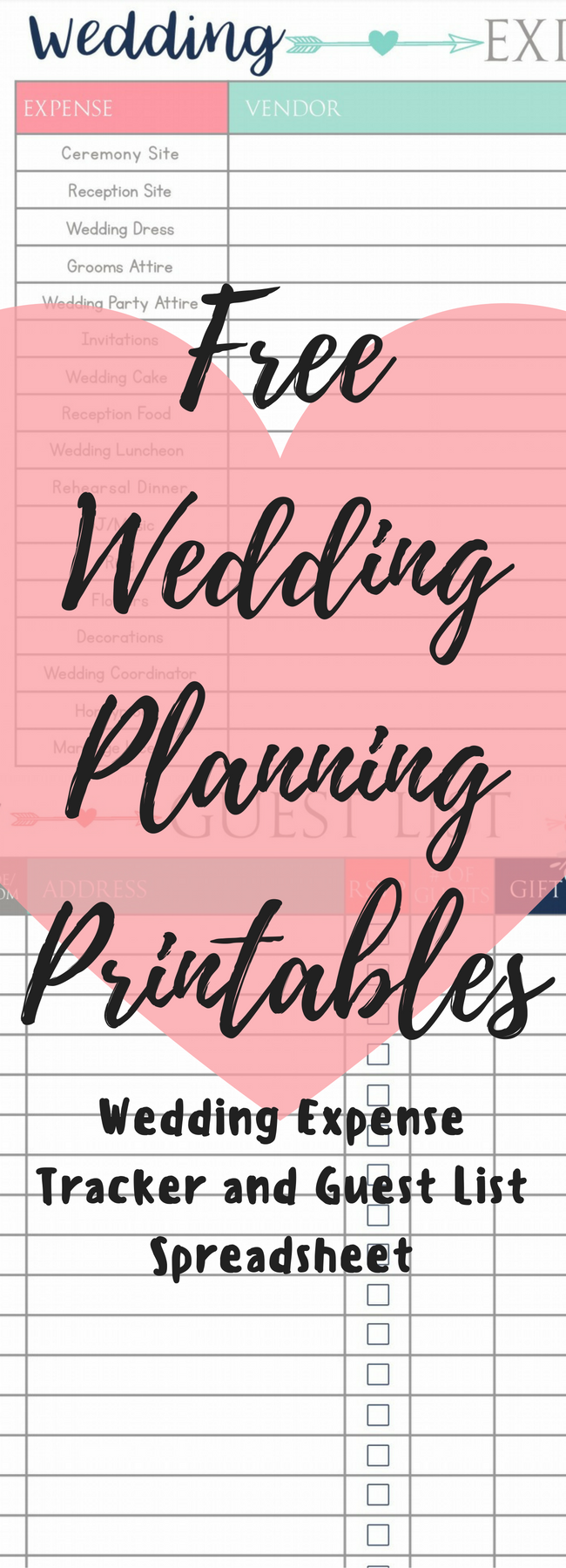 Wedding Budget / Wedding Guest List / Free WEdding Printables / Free Printables / Wedding / Wedding IDeas / Wedding Planning / Wedding on a Budget