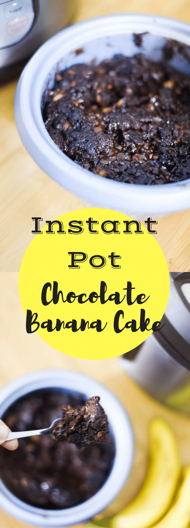 Instant Pot Chocolate Banana Cake / Instant Pot Recipes / Instant Pot Desserts / Instant Pot Quick Breads / Instant Pot Ideas via @clarkscondensed