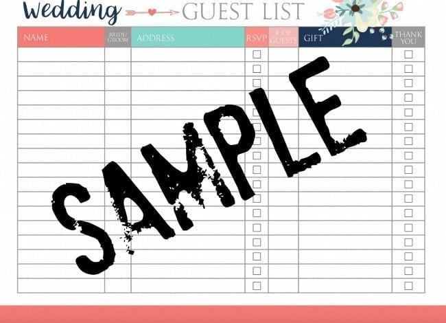 Sample Wedding Guest List Advice Tips For Tracking Your Guest List