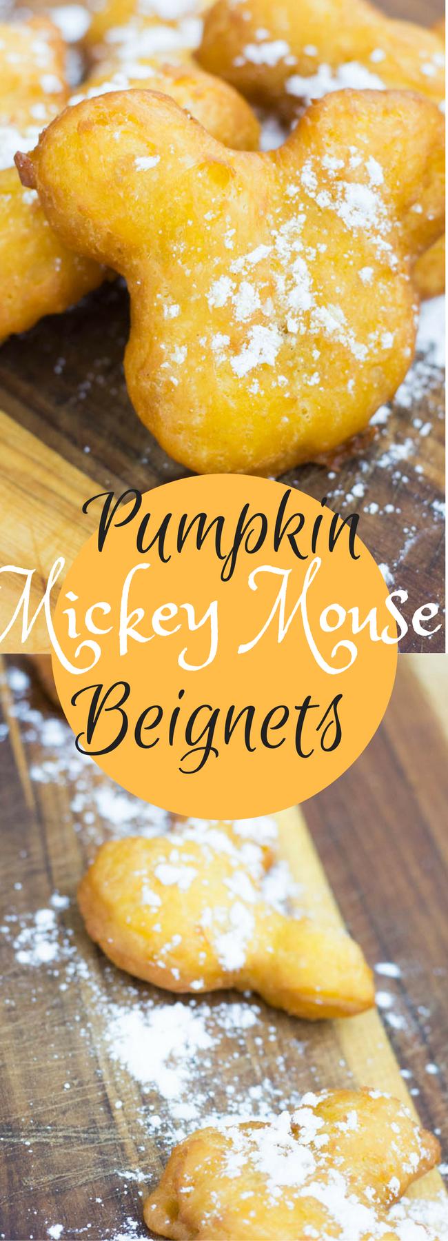 Mickey Mouse Beignets / Copycat Disneyland Beignets / Pumpkin Beginets / Pumpkin Recipe / Copycat Disneyland Recipes / French Recipes / French Desserts