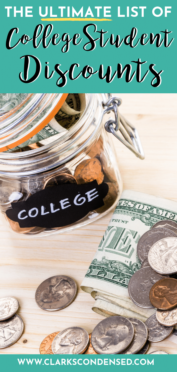 The ultimate list of discounts for college students / college student discounts / college students / college tips / tips for college students / college / save money college / college money saving via @clarkscondensed