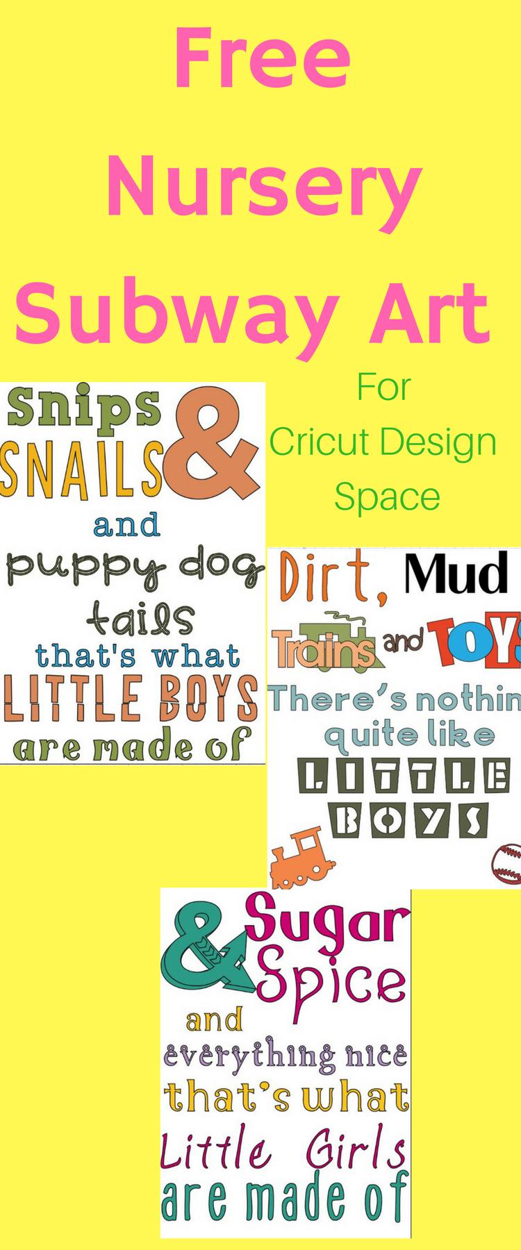 Nursery Subway Art / Boy Subway Art / Girl SUbway Art / Snips and Snails / Sugar and Spice / Little Boys / Little Girls