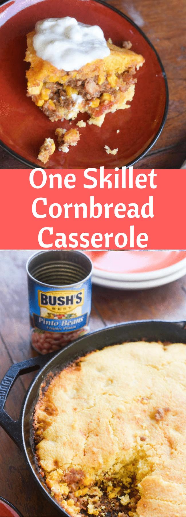 One Skillet Cornbread Casserole / Cornbread / Southwest Casserole / One Skillet Meal / One Pot Meal / Tamale Pie