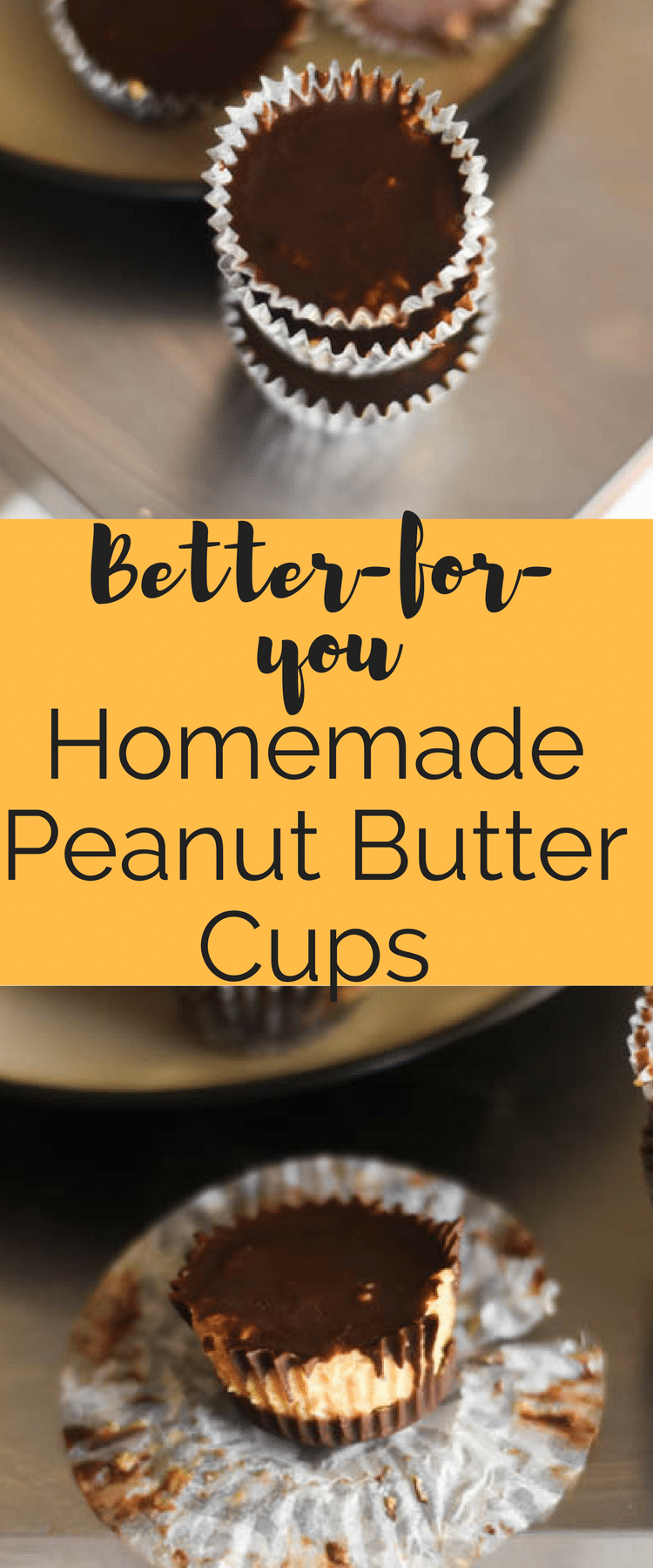 Homemade Peanut Butter Cups / Healthy Homemade Peanut Butter Cups / Protein Desserts / Gluten Free Desserts / Peanut Butter Cups Recipe / Peanut Butter Desserts / Dark Chocolate