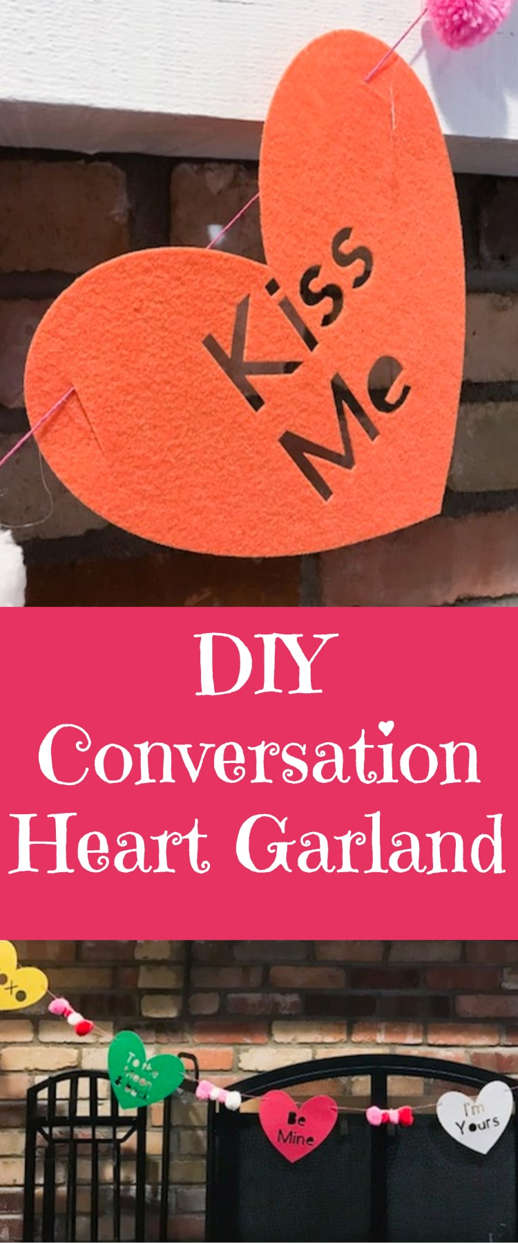 DIY Heart Garland / Cricut Garland / Cricut Valentine's Day / DIY Valentine's Day / #cricut #cricutmaker #cricutvalentines #DIY via @clarkscondensed