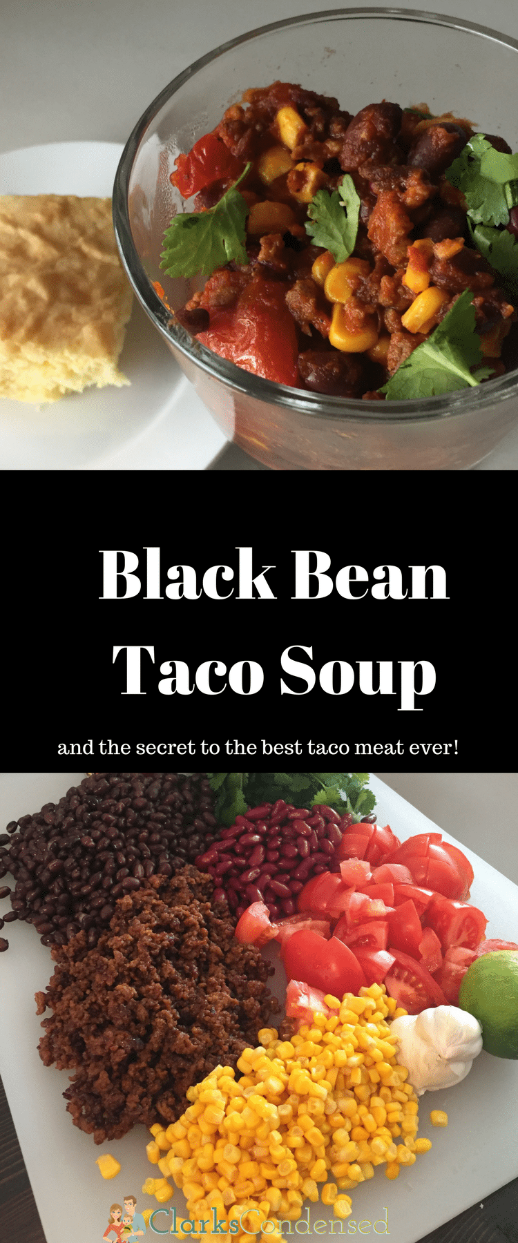 This Black Bean Taco Soup will be your new family favorite! #ad #SWBeans #IC via @clarkscondensed